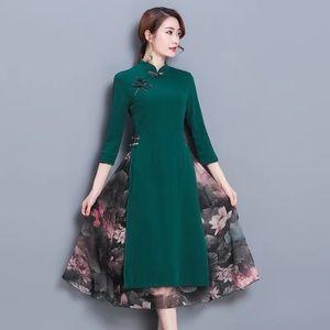 👗 Green Chinese Dress 👗